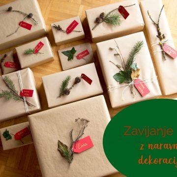 Zavijanje daril z naravno dekoracijo
