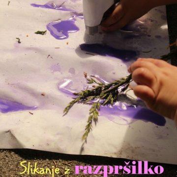 Slikanje z razpršilko in čopiči iz travniških rastlin