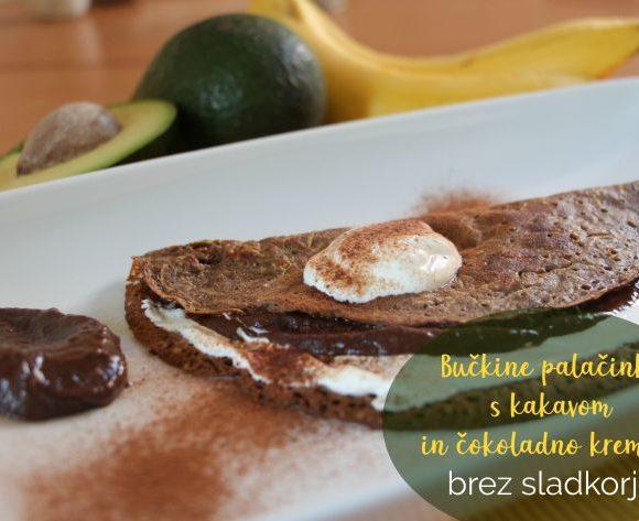 Bučkine palačinke s kakavom in čokoladno kremo – brez sladkorja