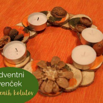 Adventni venček iz lesenih kolutov