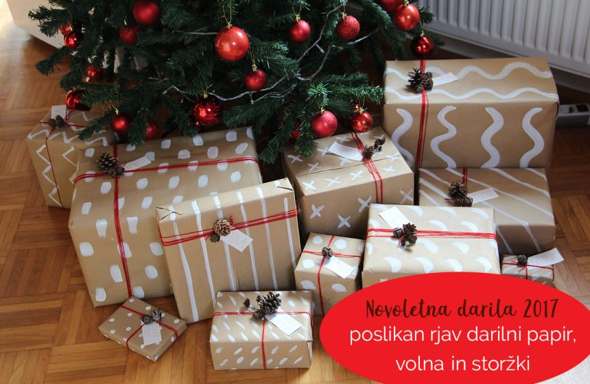 Novoletna darila 2017 – poslikan rjav darilni papir, volna in storžki