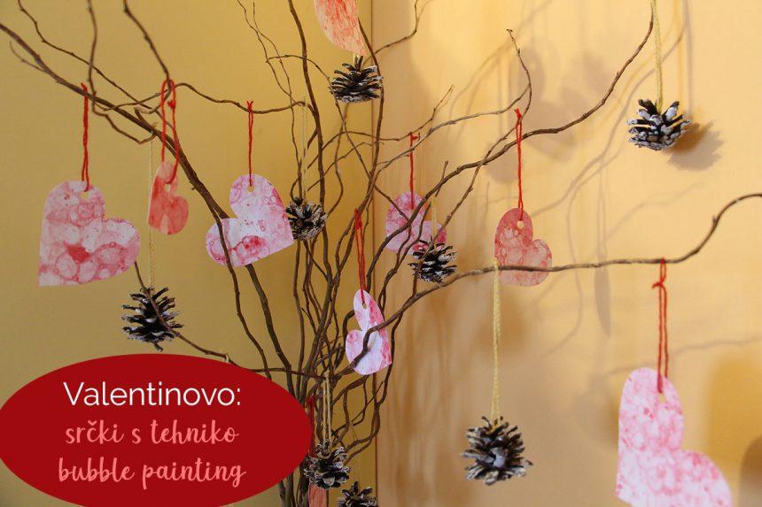 Valentinovo: srčki s tehniko bubble painting