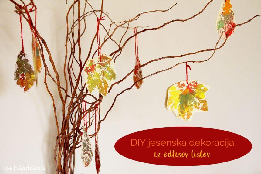 DIY jesenska dekoracija iz odtisov listov