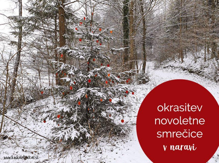 Okrasitev novoletne smrečice v naravi